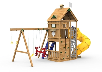 Legacy Gold Playset with Spiral tube slide, climbing steps and swings.