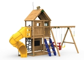 Legacy Gold Playset with spiral tube slide, climbing steps and swings from slide