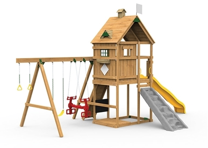 The Legacy Silver Play Set includes the Legacy kit, Giant Scoop Wave Slide, Climbing Wall, Decorative Kit, Air Rider and Playset Anchors from front