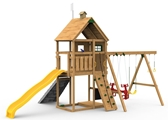 The Legacy Silver Play Set includes the Legacy kit, Giant Scoop Wave Slide, Climbing Wall, Decorative Kit, Air Rider and Playset Anchors from back