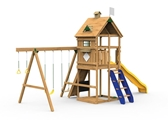 The Legacy Bronze Play Set includes the Legacy kit, Giant Scoop Wave Slide, Climbing Steps, Decorative Kit, Rigid Swing Seat and Swing Hangers from swing side