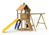The Legacy Bronze Play Set includes the Legacy kit, Giant Scoop Wave Slide, Climbing Steps, Decorative Kit, Rigid Swing Seat and Swing Hangers from slide side