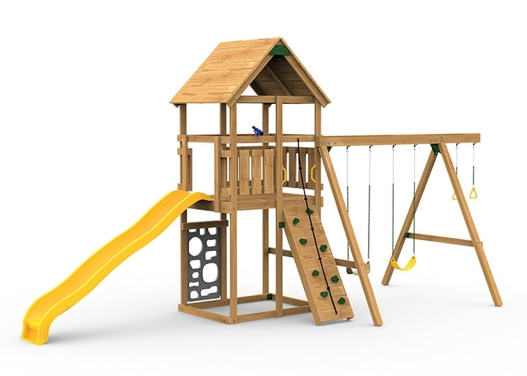 The Legacy Starter Play Set includes the Legacy kit, Giant Scoop Wave Slide, Vertical Climber, Rigid Swing Seat and Swing Hangers from slide side