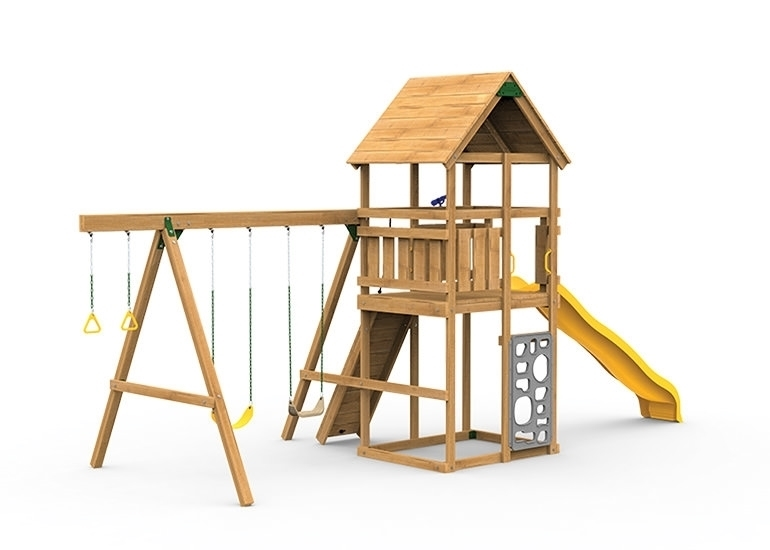 The Legacy Starter Play Set includes the Legacy kit, Giant Scoop Wave Slide, Vertical Climber, Rigid Swing Seat and Swing Hangers from swing side