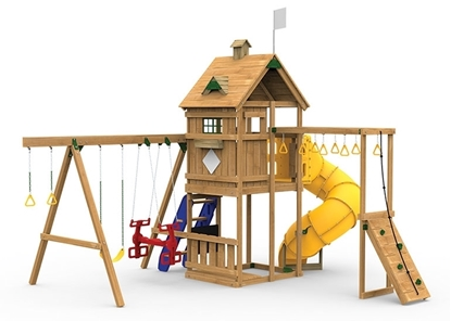 The Contender Gold Play Set includes the Contender kit, Spiral Tube Slide, Climbing Steps, Decorative Kit and Air Rider from swings side