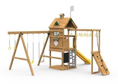 The Contender Bronze Play Set includes the Contender kit, Scoop Slide, Vertical Climber, Decorative Kit, Rigid Swing Seat, and Swing Hangers from swing side