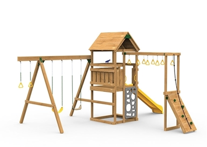 The Contender Starter Play Set includes the Contender kit, Scoop Slide, Vertical Climber, Rigid Swing Seat, and Swing Hangers from swing side
