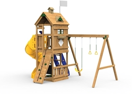 The Trainer Gold Play Set includes the Trainer kit, Spiral Tube Slide, Climbing Steps, Decorative Kit, Climbing Rope and Speak & Spy Megascope from swing side