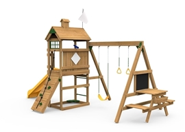 The Play Maker play set features Pre-Assembled Sections that you can Easily Set Up In Under 4 Hours!  It also includes Scoop Slide, Rock Wall, Rope, Activity Table, Magnetic Chalkboard, Sand Box Seat, Telescope, Gym Rings, Climbing Bars and Swing Seat.  Personalize your Play Maker with the Plaque & Flag by creating your own Custom Theme from swing side