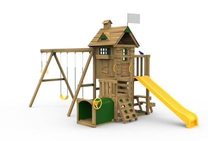 Picture of Play House w/ Swing Beam/Riser Kit, Slide & Toddler Tunnel