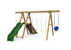 The Mesa Gold Swing Set includes the Mesa Kit, Scoop Wave Slide, Climbing Wall, 2 Swings, Gym Rings, Toddler Swing and Play Handles from slide side.