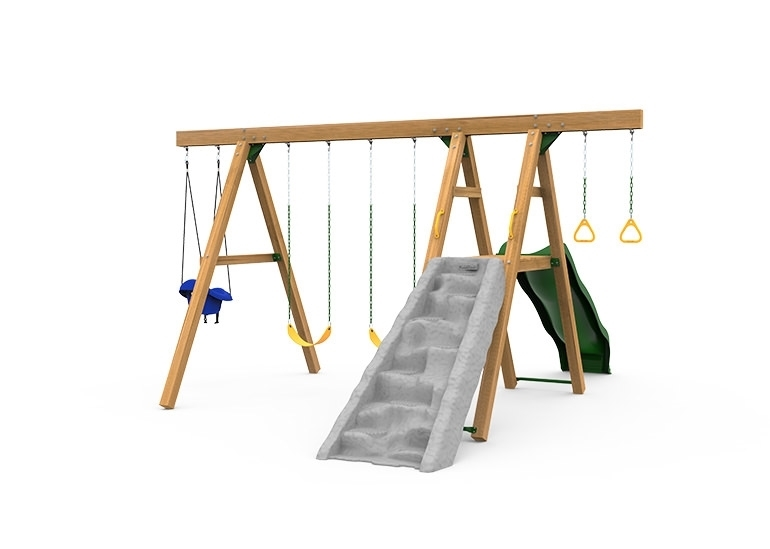 The Mesa Gold Swing Set includes the Mesa Kit, Scoop Wave Slide, Climbing Wall, 2 Swings, Gym Rings, Toddler Swing and Play Handles from climbing wall side
