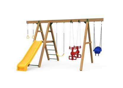 The Mesa Silver Swing Set includes the Mesa kit, Scoop Slide, Climbing Rungs, Air Rider, Swing, Gym Rings, Toddler Swing and Play Handles from slide side