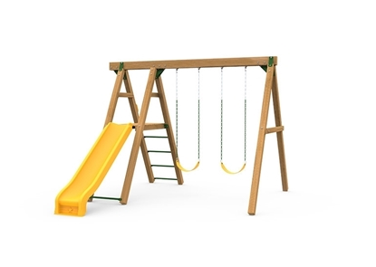 The Mesa Bronze Swing Set includes the Mesa kit, Scoop Slide, Climbing Rungs, 2 Swings and Play Handles from slide side