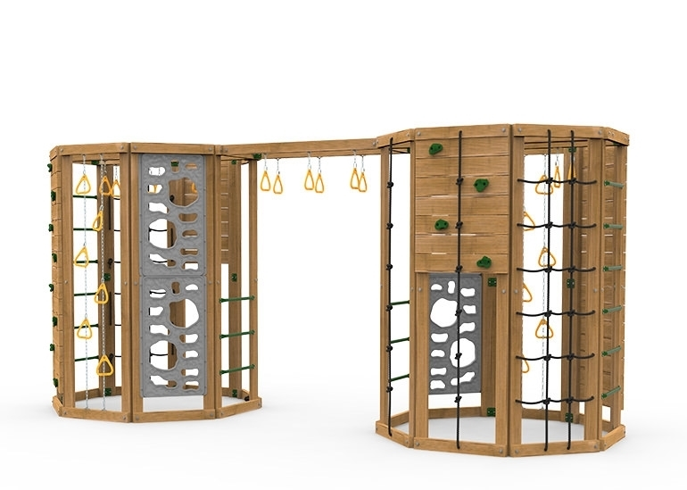 The Cliffhanger Gold Play Set includes the Cliffhanger kit, 2 Cargo Nets, 4 sets Climbing Rungs, 2 Climbing Rope Walls, 2 Rock Walls, 2 Hanging Rings on Chains, Monkey Rings, 4 Vertical Climbers, 2 Climbing Rope/Rock Walls and more Monkey Rings spanning between the two units from side 2