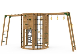 The Cliffhanger Silver Play Set includes the Cliffhanger kit, Cargo Net, 2 sets Climbing Rungs, Climbing Rope, Rocks, Hanging Rings on Chains, Monkey Rings, 2 Vertical Climbers, and added Climbing Bars & Monkey Rings from hanging rings.