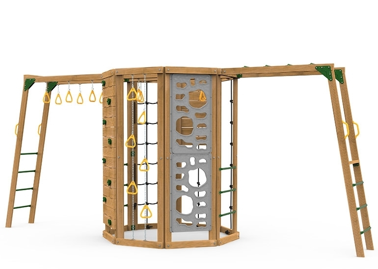 The Cliffhanger Silver Play Set includes the Cliffhanger kit, Cargo Net, 2 sets Climbing Rungs, Climbing Rope, Rocks, Hanging Rings on Chains, Monkey Rings, 2 Vertical Climbers, and added Climbing Bars & Monkey Rings from monkey bars