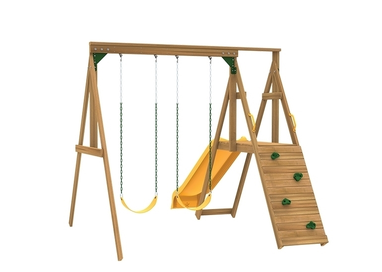 The Sonoma Swing Set includes the Sonoma kit, 2 swings, Play deck, Slide, Play Handles from rock wall side.