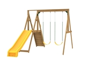 The Sonoma Swing Set includes the Sonoma kit, 2 swings, Play deck, Slide, Play Handles from slide side